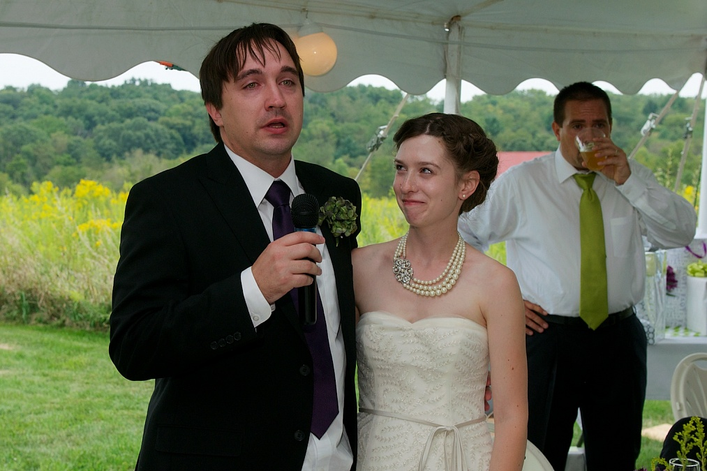 The groom offers a toast during the reception.