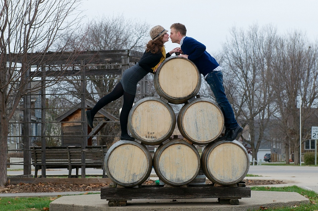 Rachel and Jesse share moments during their engagement session in the Amana Colonies.