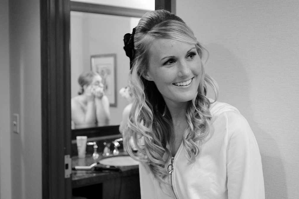 Sarah prepares for her wedding at the Marriott in Coralville.