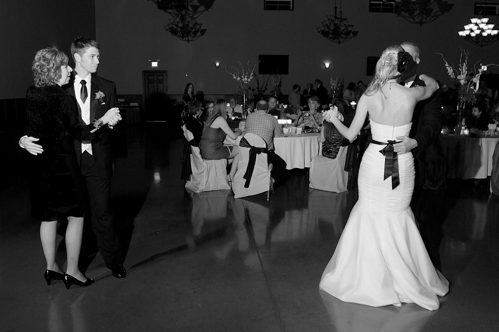 Dancing at the wedding reception.